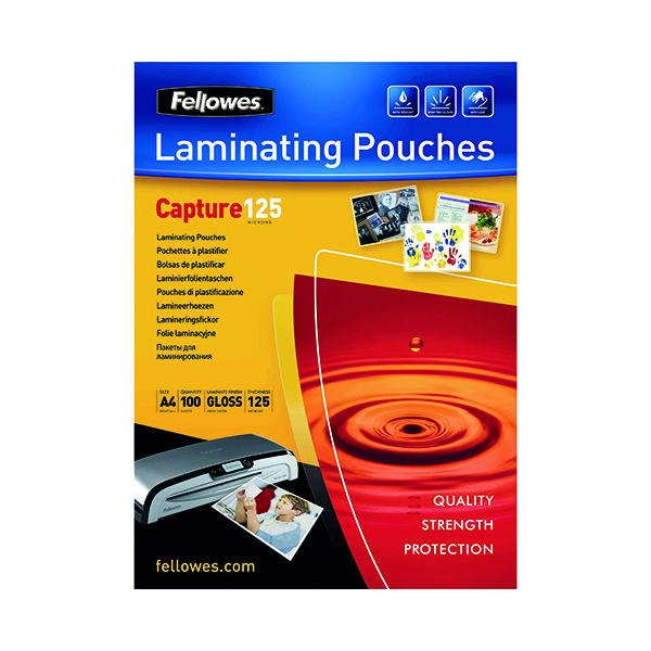 Laminating Film & Pockets Fellowes A4 Capture Laminating Pouch 250 Micron (100 Pack) 55307401