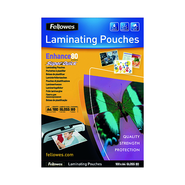 Laminating Film & Pockets Fellowes Super Quick A4 Laminating Pouches 160 Micron (100 Pack) 5440001