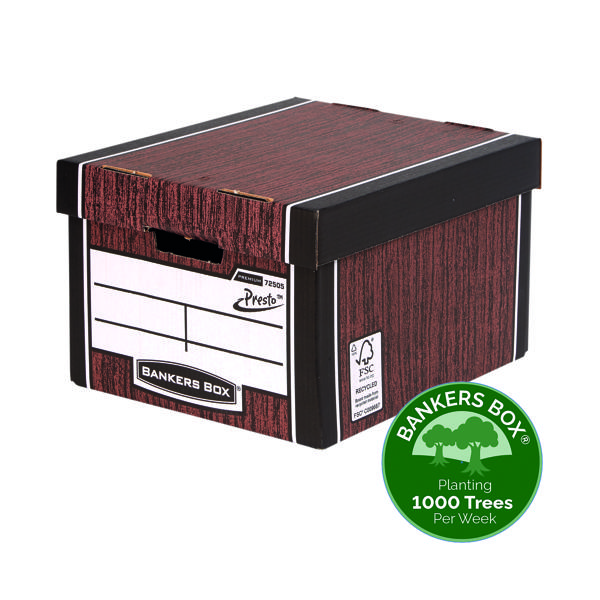 Box Fellowes Bankers Box Woodgrain Premium Storage Box (10+2 Pack) 7250501