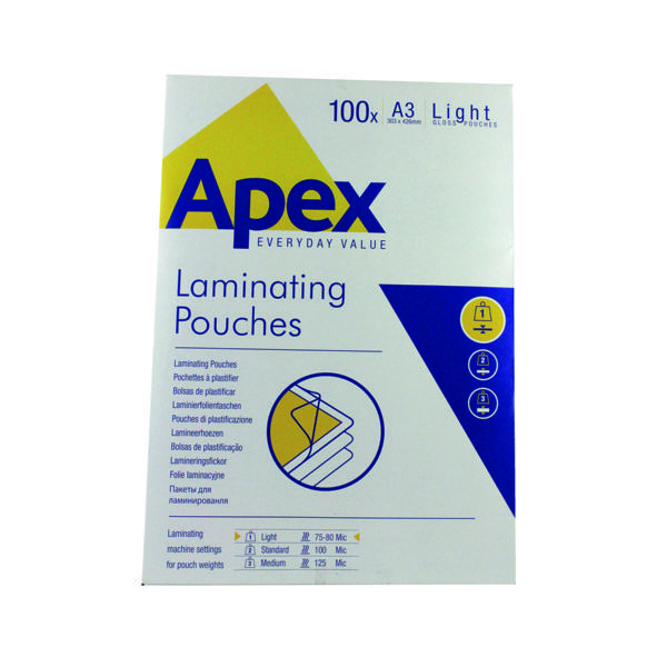 A3 Fellowes Apex A3 Light Duty Laminating Pouches 150 Micron Clear (100 Pack) 6001901