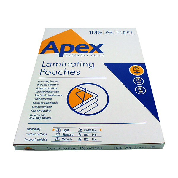 A4 Fellowes Apex Light Duty A4 Laminating Pouches 150 Micron Clear (100 Pack) 6003201