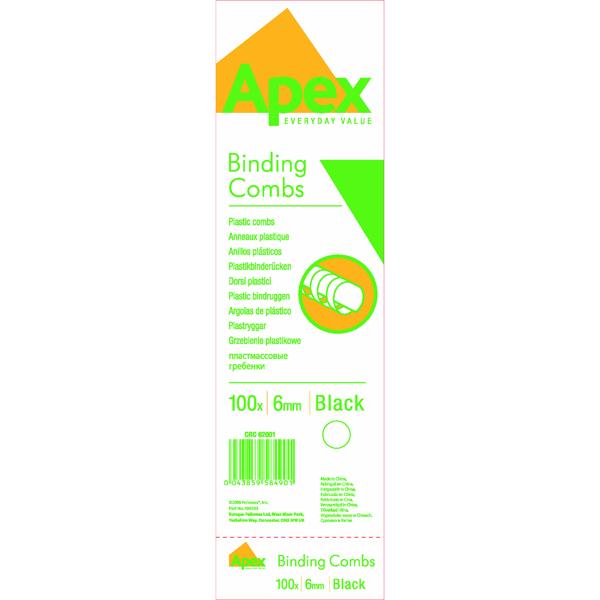 Binding Combs Fellowes Apex 6mm Black Plastic Binding Combs (100 Pack) 6200102