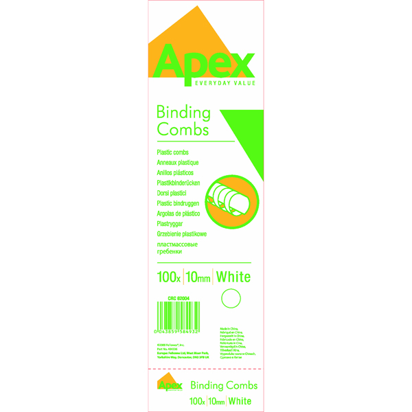 Binding Combs Fellowes Apex 10mm White Plastic Binding Comb (100 Pack) 6200401