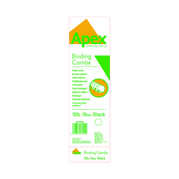 Binding Combs Fellowes Apex 10mm Black Plastic Binding Comb (100 Pack) 6200501
