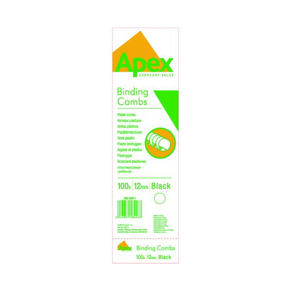 Binding Combs Fellowes Apex 12mm Black Plastic Binding Combs (100 Pack) 6201101