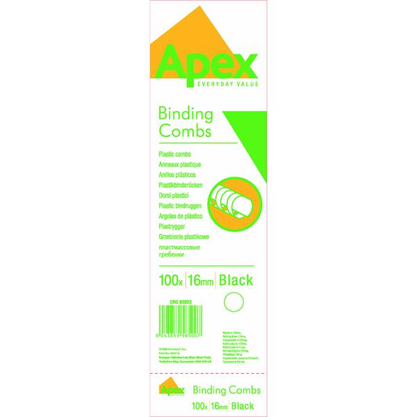 Binding Combs Fellowes Apex 16mm Black Plastic Binding Combs (100 Pack) 6202301