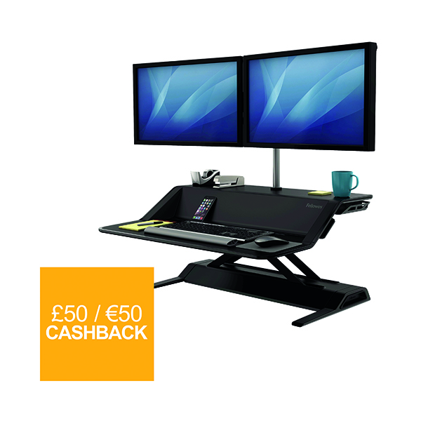 Desktops Fellowes Lotus Sit Stand Workstation Black 0007901