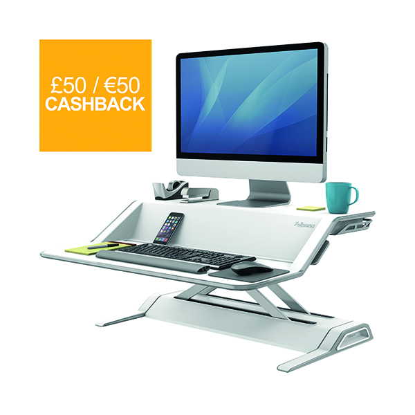 Desktops Fellowes Lotus Sit Stand Workstation White 0009901