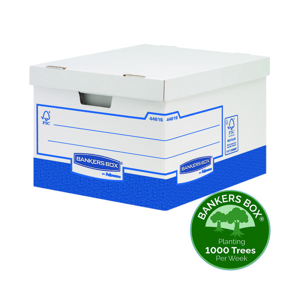 Box Fellowes Basics Storage Box Heavy Duty W380xD430xH287mm Large (10 Pack) BB72106