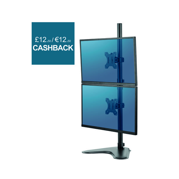 Fellowes Professional Series Free Standing Dual Vertical Monitor Arm 8044001