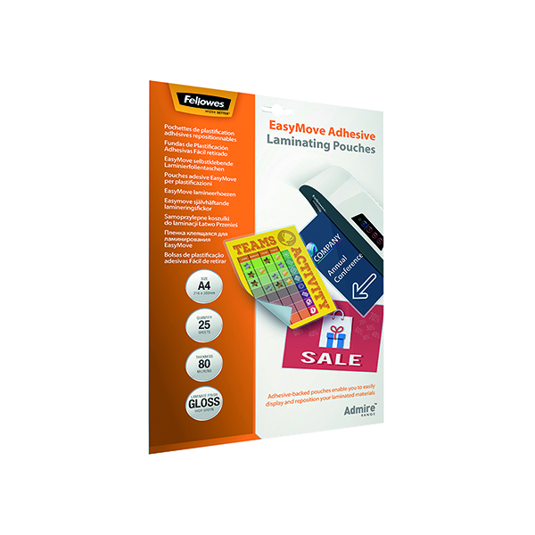 A4 Fellowes Admire EasyMove Adhesive A4 Laminating Pouches 160 Micron (25 Pack) 5601701
