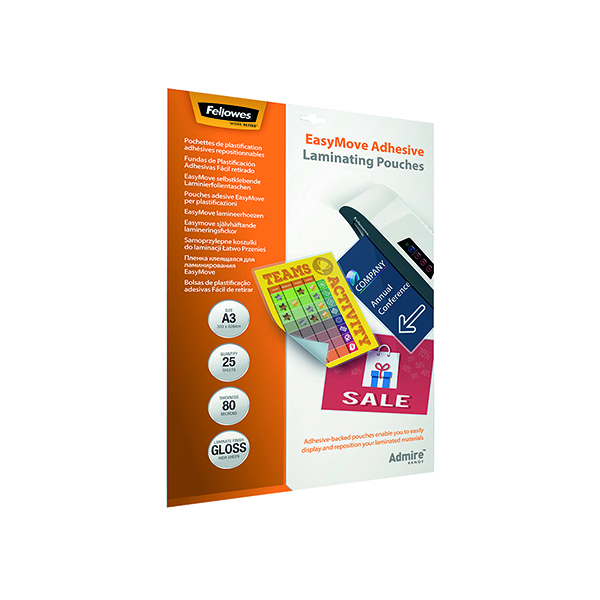 A3 Fellowes Admire EasyMove Adhesive A3 Laminating Pouches 160 Micron (25 Pack) 5601801