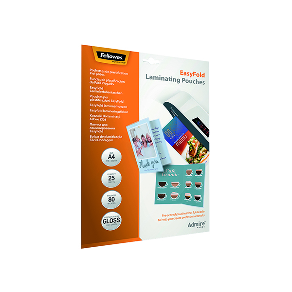 Laminating Film & Pockets Fellowes Admire EasyFold A4 Laminating Pouches 160 Micron (25 Pack) 5601901