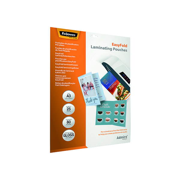Fellowes Admire EasyFold A3 Laminating Pouches 160 Micron (25 Pack) 5602001