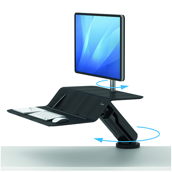 Desktops Fellowes Lotus Sit Stand Work Station Single Screen Black 8081701