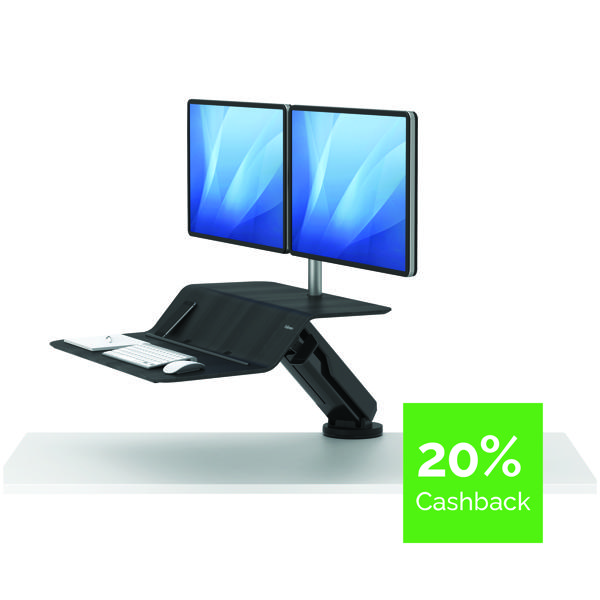 Desktops Fellowes Lotus Dual Screen Sit Stand Work Station Black 8081601