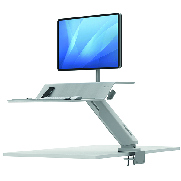 Desktops Fellowes Lotus Sit Stand Work Station White 8081801