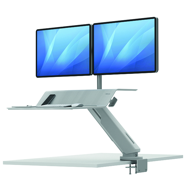 Desktops Fellowes Lotus Dual Screen Sit Stand Work Station White 8081801