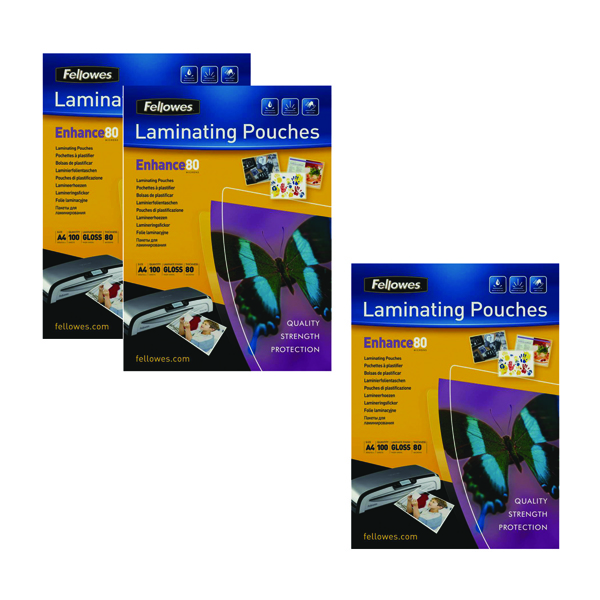 A4 Fellowes Laminating Pouch A4 160 Mic Get 3Packs for the Price of 2 (Pack of 200+100) BB810551