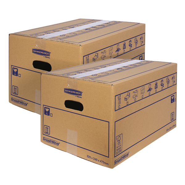 Boxes Bankers Box SmoothMove Standard Moving Box 320x260x470mm (10 Pack) BOGOF