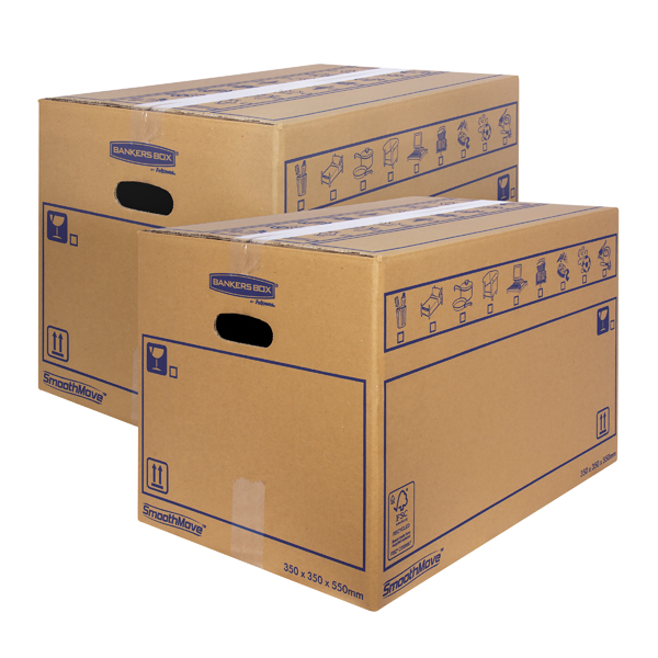 Boxes Bankers Box SmoothMove Standard Moving Box 350x350x550mm (10 Pack) BOGOF