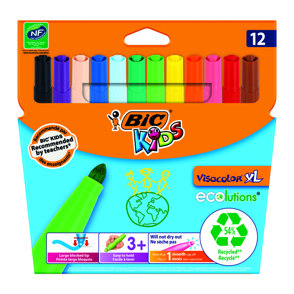 Bic Kids Assorted Visa XL Felt Pens (12 Pack) 829007