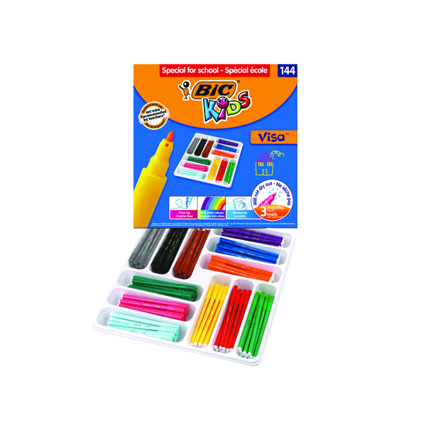 Bic Kids Visa Felt Pens Fine Tip Assorted (144 Pack) 887838