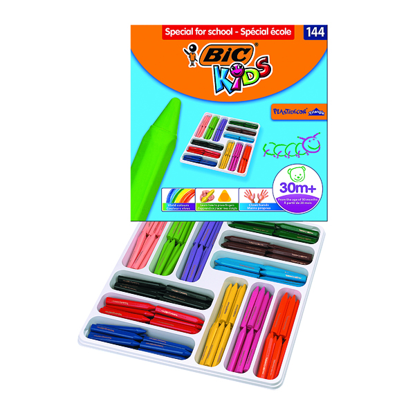 Colouring / Drawing Pencils Bic Kids Plastidecor Triangle Crayons Assorted (144 Pack) 887833