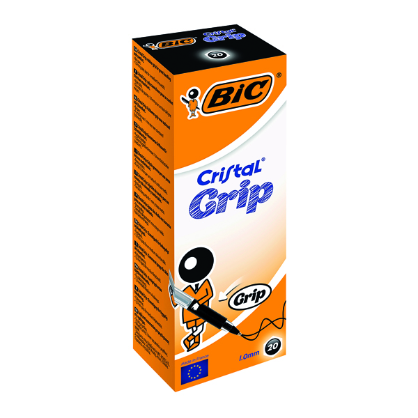 Black Bic Cristal Grip Ballpoint Pen Medium Black (20 Pack) 802800