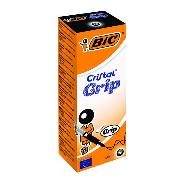 Black Bic Cristal Grip Ballpoint Pen Medium Black (20 Pack) 802800