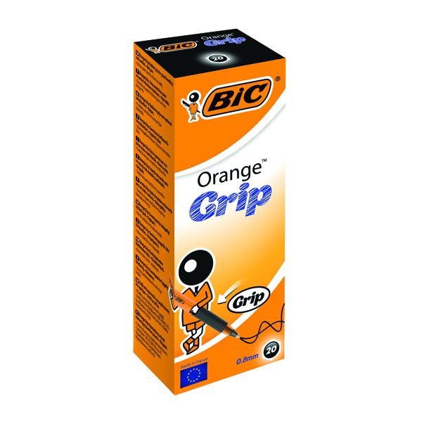 Black Bic Orange Cristal Grip Ballpoint Pen Black (20 Pack) 811925