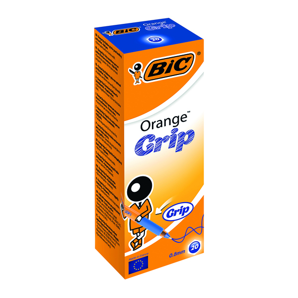 Blue Bic Orange Cristal Grip Ballpoint Pen Blue (20 Pack) 811926