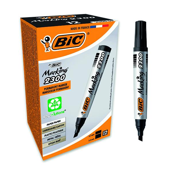 Bic 2300 Permanent Marker Chisel Tip Black (12 Pack) 820926