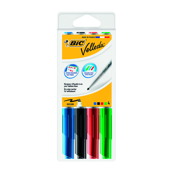 Assorted Bic Velleda 1741 Whiteboard Marker Bullet Tip Assorted (4 Pack) 1199001744