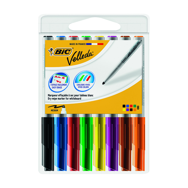 Assorted Bic Velleda 1741 Drywipe Marker Assorted (8 Pack) 1199001748