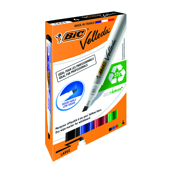 Bic Velleda 1751 Whiteboard Marker Chisel Tip Assorted (4 Pack) 1199001754