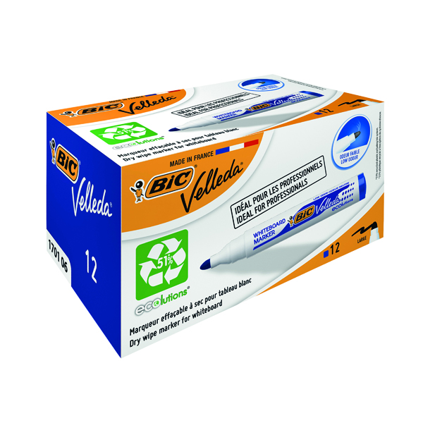 Bic Velleda 1701 Whiteboard Marker Bullet Tip Blue (12 Pack) 1199170106