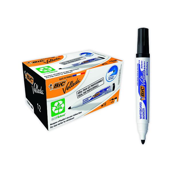 Black Bic Velleda 1701 Whiteboard Marker Bullet Tip Black (12 Pack) 1199170109