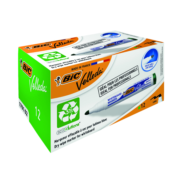 Green Bic Velleda 1701 Whiteboard Marker Bullet Tip Green (12 Pack) 1199170102