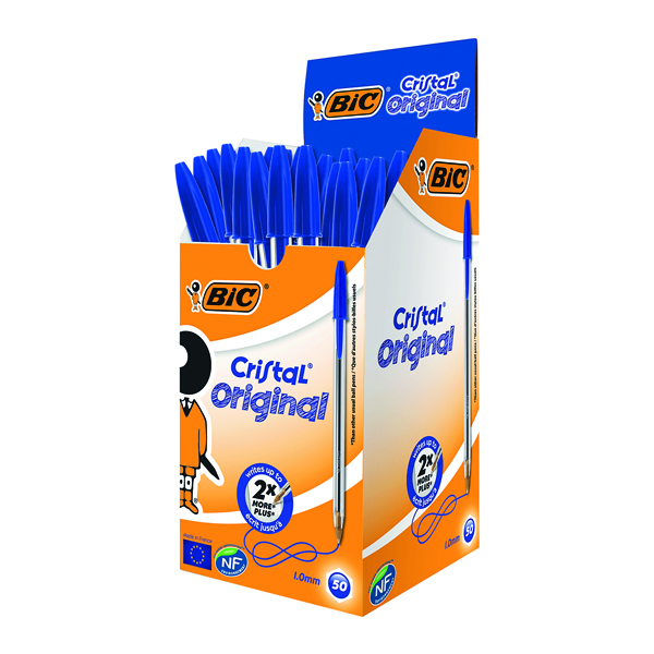Blue Bic Cristal Ballpoint Pen Medium Blue (50 Pack) 837360