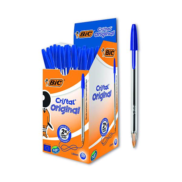 Bic Cristal Ballpoint Pen Medium Blue (50 Pack) 837360
