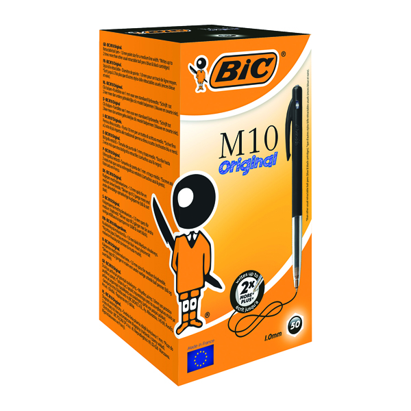 Black Bic M10 Clic Retractable Ballpoint Pen Medium Black (50 Pack) 901256