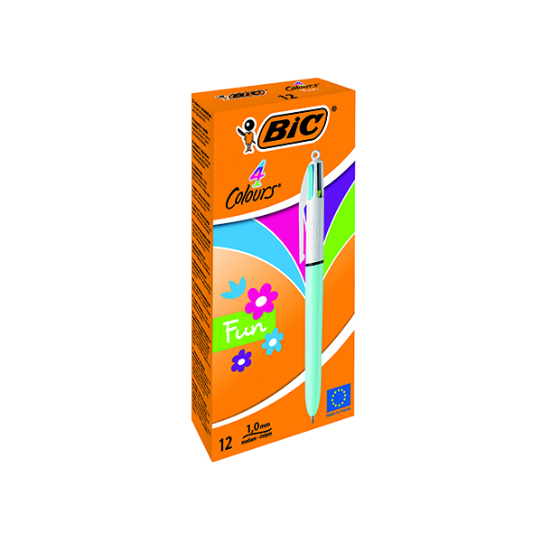 Assorted Bic 4 Colours Fun Retractable Ballpoint Pen (12 Pack) 887777
