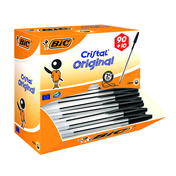 Bic Cristal Medium Black Ballpoint Pen (100 Pack) 896040
