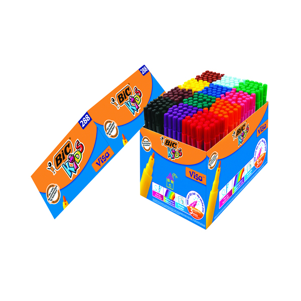 Bic Kids Visa Felt Pens Fine Tip Assorted (288 Pack) 897099