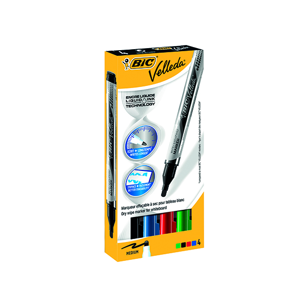 Assorted Bic Velleda Liquid Ink Drywipe Marker Assorted (4 Pack) 902094