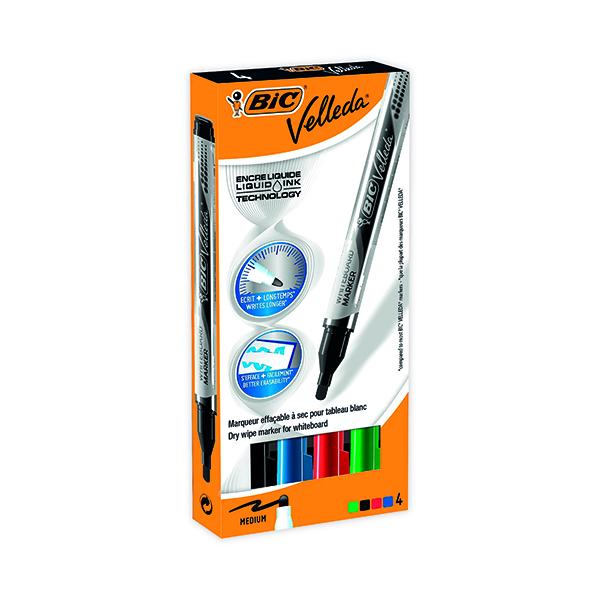 Bic Velleda Liquid Ink Drywipe Marker Assorted (4 Pack) 902094