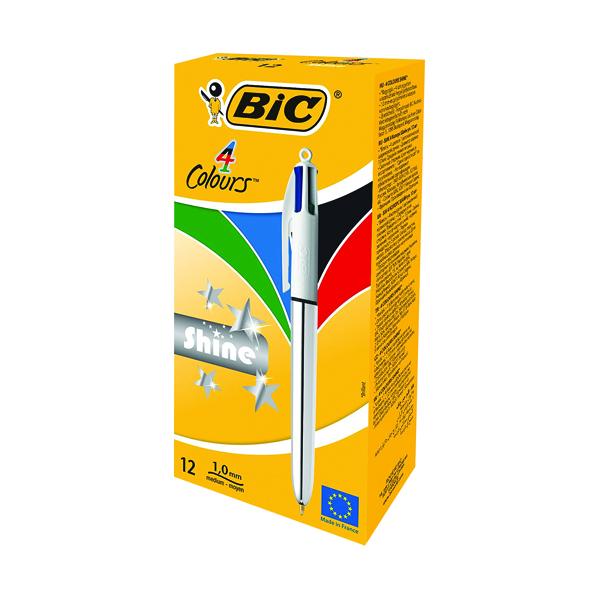 Bic 4 Colours Shine Retractable Ballpoint Pen (12 Pack) 919380