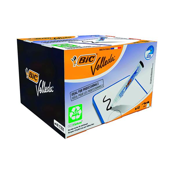 Bic Velleda 1701 Drywipe Marker Bullet Tip Black (48 Pack) 927258