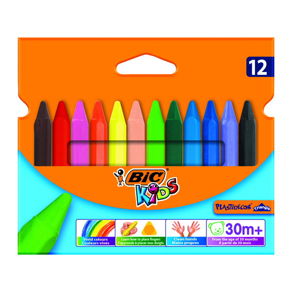 Crayon Bic Kids Plastidecor Triangle Crayons Assorted (12 Pack) 829773